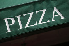 Pizza sign, restaurant canopy, entrance, Pizzeria Royalty Free Stock Photography