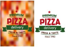 Pizza signs or labels for a pizzeria design Royalty Free Stock Photo