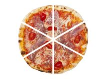 Six pieces of pizza isolated. On the white background Royalty Free Stock Photos