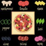 Pizza składników wektoru ilustracja Zdjęcie Stock