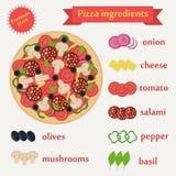 Pizza składników wektoru set Fotografia Royalty Free