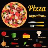 Pizza składników wektoru set Obrazy Royalty Free