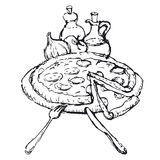 Pizza sketch Royalty Free Stock Photos