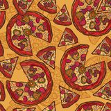 Pizza sketch seamless pattern Stock Image