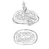 Pizza sketch. vector illustration Royalty Free Stock Images