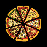Pizza, sketch for your design Royalty Free Stock Image