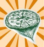 Pizza skissar handen drog designbeståndsdelen Vektor Illustrationer