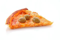 Pizza slice. Tasty Pizza with olives isolated on white royalty free stock photos