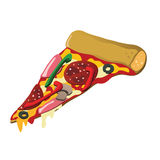 Pizza slice. A delicious pizza slice with tomato sauce, cheese, pepperoni, bell pepper, edible mushrooms, ham and olives Royalty Free Stock Images