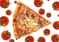 Pizza slice. With tomato background Stock Image