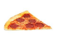 Pizza slice. Salamy pizza slice isolated on white background stock photos