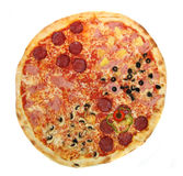 Pizza slice. Pizza close-up isolated on white background royalty free stock photography