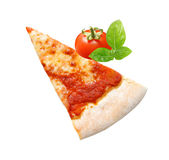 Pizza slice. On a white background Stock Photos