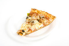 Pizza slice. Slice of a pizza on a plate isolated on a white background stock images