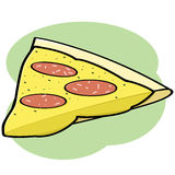 Pizza slice. Cartoon illustration showing a pepperoni and cheese pizza slice royalty free illustration