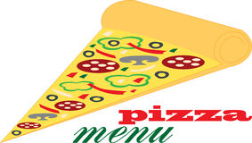 Pizza slice. Illustration of a pizza isolated on white background, vector illustration Royalty Free Stock Photography