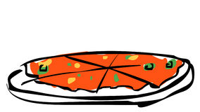 PIZZA slice. Illustration of pizza with toppings Royalty Free Stock Images
