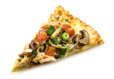 Pizza slice. Slice of pizza with vegetables and chicken breast Stock Images