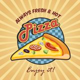 Pizza slice advertising poster Stock Images