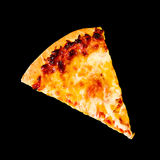 Pizza slice. On black background Royalty Free Stock Images