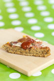 Pizza slice with blurred background.  royalty free stock image