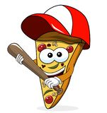 Pizza slice cartoon funny baseball bat isolated. On white stock illustration