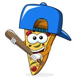 Pizza slice cartoon funny baseball bat isolated. On white vector illustration