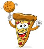 Pizza slice cartoon funny basketball isolated. On white royalty free illustration