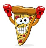 Pizza slice cartoon funny champion gloves boxer boxing isolated. On white royalty free illustration
