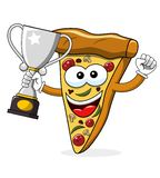 Pizza slice cartoon funny champion winner cup isolated. On white vector illustration