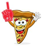 Pizza slice cartoon funny exulting number one glove supporter fan isolated. On white stock illustration