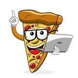 Pizza slice cartoon funny laptop computer isolated. On white vector illustration