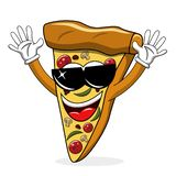 Pizza slice cartoon funny sunglasses cool isolated. On white vector illustration