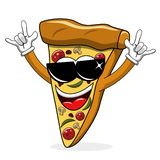 Pizza slice cartoon funny sunglasses rock isolated. On white vector illustration
