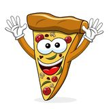Pizza slice cartoon funny waving isolated. On white royalty free illustration
