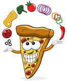 Pizza slice cartoon juggler toppings funny isolated. On white stock illustration