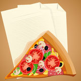 Pizza slice with check list. Lunch break concept Stock Photography
