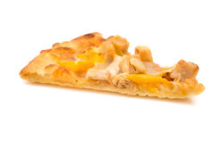 Pizza slice with chicken and mango on white background. Pizza slice with chicken and mango on a white background stock photo