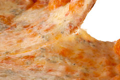 Pizza slice close up. A close up photo of a four cheesed pizza royalty free stock photos