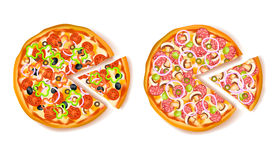 Pizza With Slice Composition Stock Photos