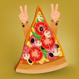 Pizza slice concept with human hands Stock Images