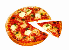 Pizza slice. Pizza with cut slice on white Stock Photo