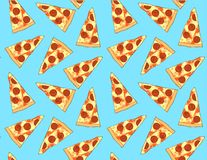 Pizza slice cute seamless pattern. Pizza slice cute colourful seamless pattern on a blue background vector illustration