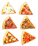 Pizza slice with different toppings Stock Photography