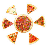 Pizza slice with different toppings Royalty Free Stock Image