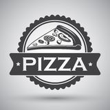 Pizza slice emblem Stock Images