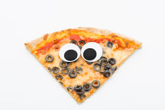 Pizza slice with googly eyes on white background Royalty Free Stock Photos