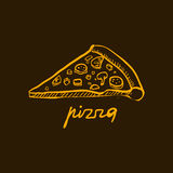 Pizza Slice. Handdrawn Vector Illustration Royalty Free Stock Photo