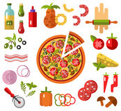 Pizza with slice and ingredients. Vector flat icons set of Pizza with slice and Pizza's ingredients - tomato, olive, onion, pepper in flat design Stock Photography