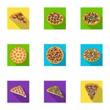 Pizza,slice with meat, cheese and other filling. Different pizza set collection icons in flat style vector symbol stock. Illustration Stock Photography
